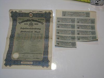 WW1 German City of Hamburg 5,000 Mark War Reparations 4 1/2% Bond, 1919
