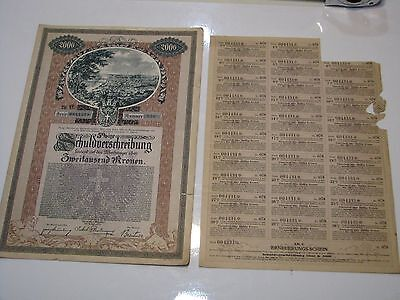 Original Austria Loan 1921 City Vienna 5% Bond 2000 cr coup Uncancelled Top Deco