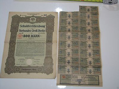 German War Bond 1919 200 Marks Berlin Reparations