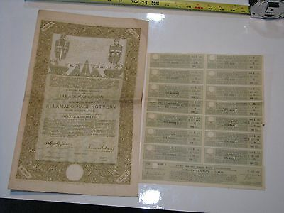 HUNGARY KINGDOM DEBT BOND stock certificate 1915 10,000 Kroner