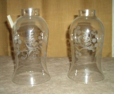 vintage pair grapevine glass chimneys for candlesticks