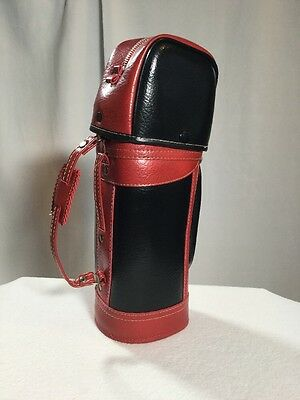 Vintage Wine Bottle Bag Vintage Faux Leather With Metal Zipper Golf Bag Look