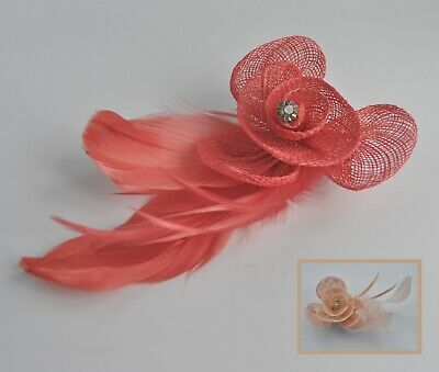 Sinamay & feathers small wedding fascinator hair clip/corsage. Nude/taupe/mauve