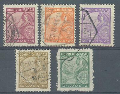 Macao 1934-42 sg.350-1, 353-4 and 403 used
