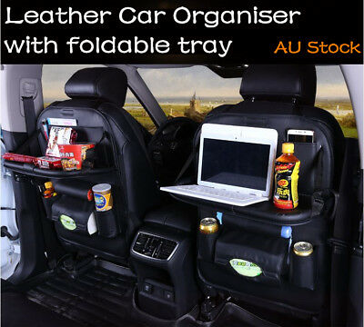 Leather Car Organiser Foldable Tray Back Seat Travel Storage Pouch iPad Holder