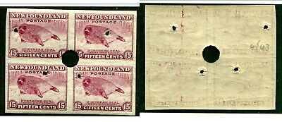 Newfoundland 15 Cent IMPERF Block with SECURITY PUNCHES #262ii (Lot #13664)