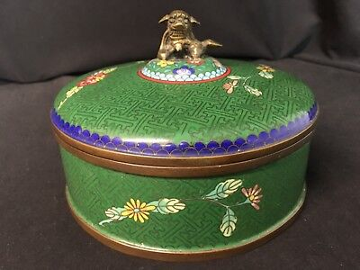 """Antique Chinese Cloisonne 3 Part 6&1/2"""" Covered Dish or Bowl With Lid Green"""