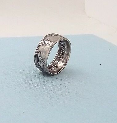 Made from a 1960 German 5 mark 62.5% silver coin ring size 9