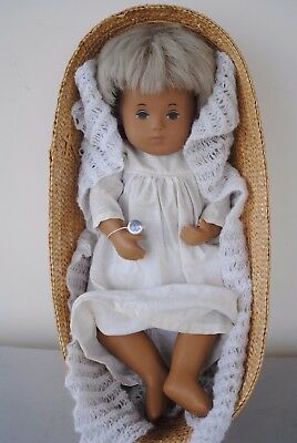 Vintage Sasha Baby Doll 503 In Basket Blonde Hair And Night Gown
