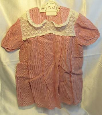 Vintage Red Stripped Cotton Toddler Dress Doll Clothes