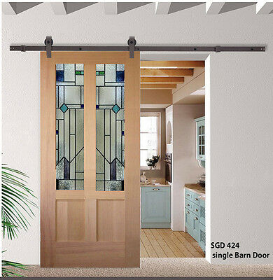 Barn Doors with Solid wood & stained glass panels