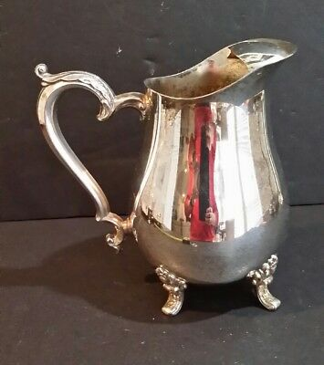 Vintage Silverplate Footed Water Pitcher with Ice Guard 8.50""