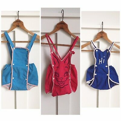Lot Of Three Vintage Baby Sunsuits Romper Overalls 6-12 Months Unisex Red Bunny