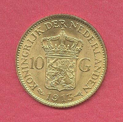 1913 Ten 10 Gulden Gold Coin 6.7290 Grams of Gold   $3 Priority Mail  Nice !!!