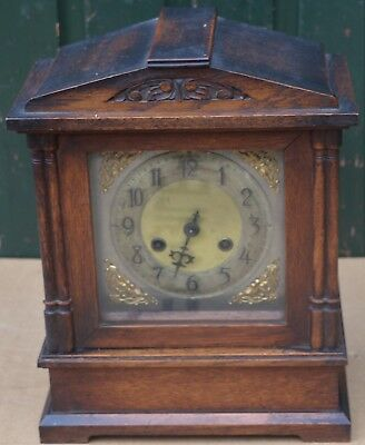 Nice Old Wooden Striking Mantel Cock With Brass Dial