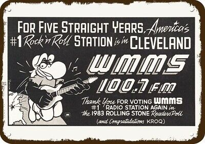 1984 WMMS 100.7 FM CLEVELAND #1 RADIO STATION Vintage Look Replica Metal Sign