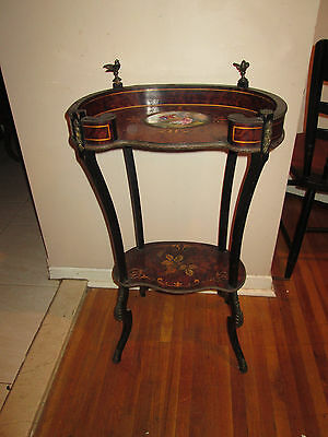Antique 19Th C French Painted Porcelain, Inlaid Table/stand With  Bronze Mounts