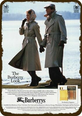 1984 BURBERRYS OF LONDON TRENCHCOATS & COLOGNE Vintage Look REPLICA METAL SIGN