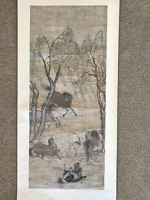 Chinese Scroll Watercolor Painting Horses Style of Zhao Mengfu Signed