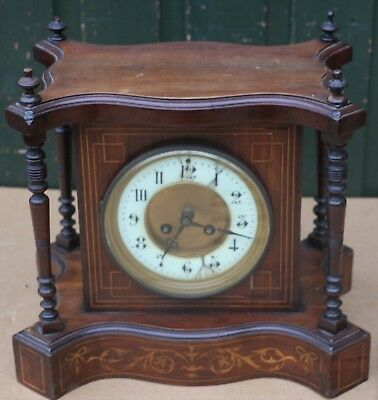 Old Unusual Shaped Inlaid Wooden Cased Striking Mantel Clock