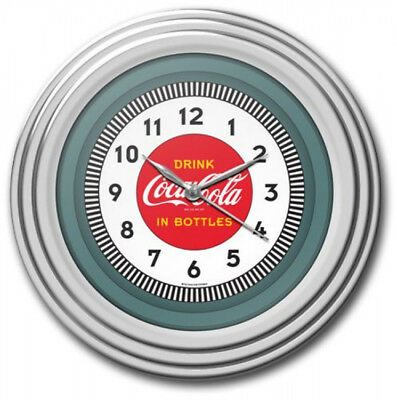 Coca Cola Clock Wall Hanging Mount Kit Kitchen Decor Chrome Molded Case 12 Inch