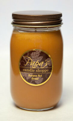 Papa's Candle Shoppe Banana Nut Bread 16oz Mason Jar, Highly Scented Soy Candles