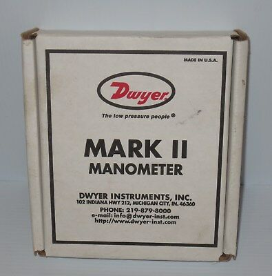 Dwyer Series Mark II 25 Molded Plastic Manometer, Inclined-Vertical Scale, NEW!