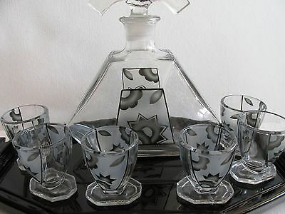 BOHEMIAN GLASS SET for liquor DECANTER TUMBLERS on the glass tray ART DECO 1930s