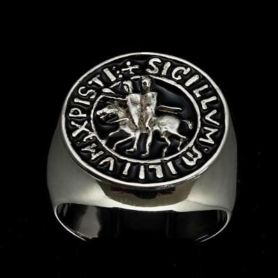 Sterling Silver Mens Medieval Ring Templar Knight Crusader Seal Black Any Size
