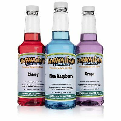 Hawaiian Shaved Ice 3 Flavor Pack Of Snow Cone Syrup, 3 Pints