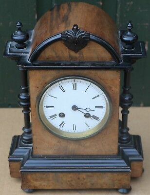 Fabulous And Quality Looking Old Wooden Cased Striking Mantel Clock