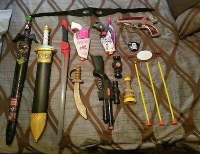 Toy Guns, Swords, Pirate Halloween Costume Lot