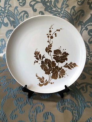 Vintage AK Kaiser Large Plate with Gold Flowers & Vines Titled 'Cherubin' RARE