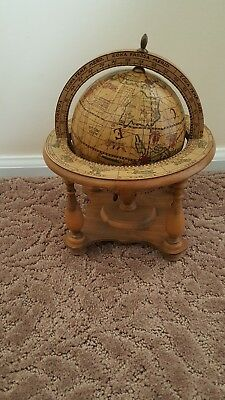 Vintage Old World olde Desk Globe with Wood Stand Made in Italy Zodiac