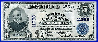 Rare 1902 $5 National Currency (( St. Louis )) # 167122