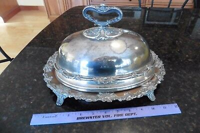 Silverplate MEAT DOME Victorian Small Roast Cover Handle Hallmark JMK Lion crown