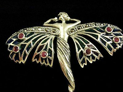 "2"" Sterling Silver French inspired Stained Glass Goddess Angel Fairy Brooch 55mm"