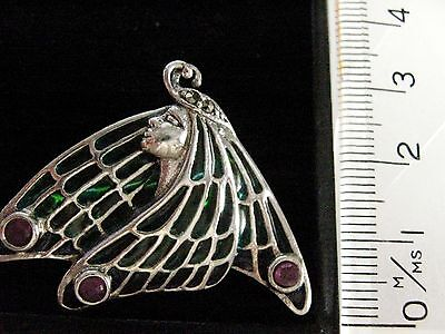 Sterling Silver French style stained Glass Butterfly Fairy Brooch Pin & Pendant