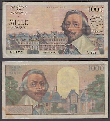 France 1000 Francs 1956 (F) Condition Banknote KM #134