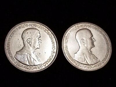 1930 Hungary 5 Pengo Silver Circulated coins - Lot of 2 (LN494)