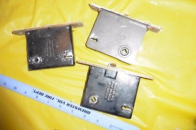 3 Antique Sargent Skillman Lockset Mortise Lock Skeleton NO KEY Brass Face Plate