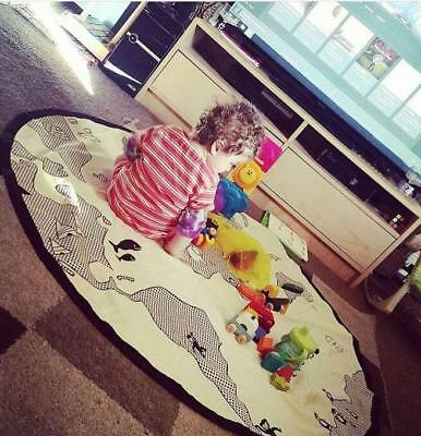 Kids Baby Soft Round World Map Play Rug Game Mat Bedroom Carpet Funny Blanket