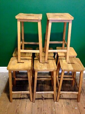 Reclaimed Vintage Beech School Lab Stools Science Wooden
