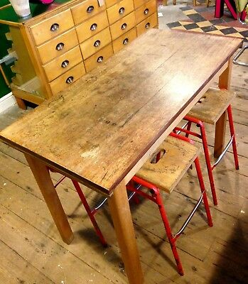 Vintage Reclaimed School Science Lab Table Beech Iroko  4ft x 2ft Dining Kitchen