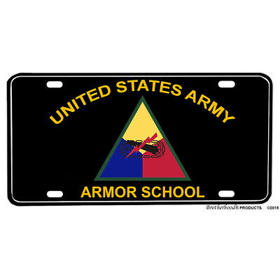 United States Army Armor School Emblem - Printed Flat Aluminum License Plate