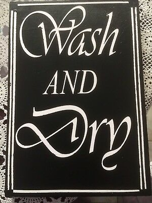Hand Painted Wood Sign For Laundry