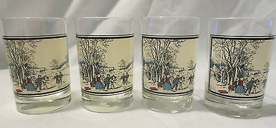 1978 Arbys Collectors Series Currier & Ives glasses Set of 4 same winter scene