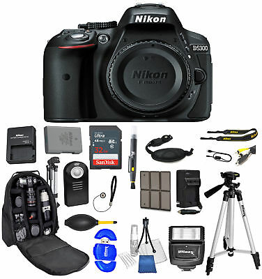 Nikon D5300 Body Only Ultimate Backpack Bundle+32gb+Flash+ Much More *Brand New*