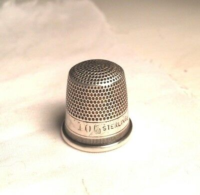 Vintage Antique Victorian Sterling Silver Sewing Thimble Size 10 marked SD