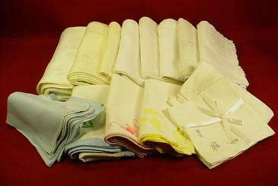 Large 124 Piece Bulk Estate Lot Vintage Antique Dinner Napkins Damask Linen Nice